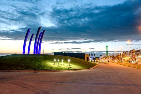 promenade: Blackpool promenade illuminated in lights. Editorial