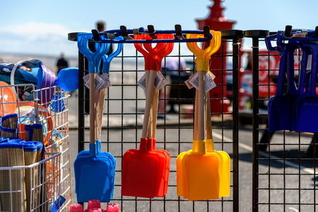 seaside town: Colorful spade on the seaside town of Blackpool, UK.
