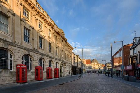 royal mail: Red phone booths in front of abondoned royal mail office at Blackpool city centre. Editorial