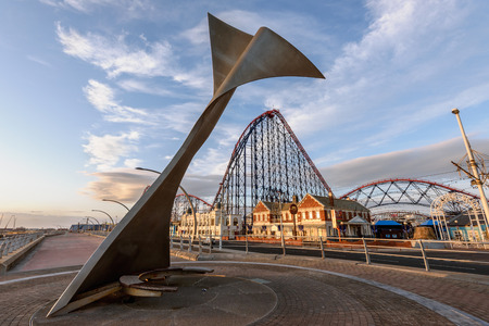 promenade: Rotatin shelter intalled on Blackpool south shore promenade, which looks like a fish tail.