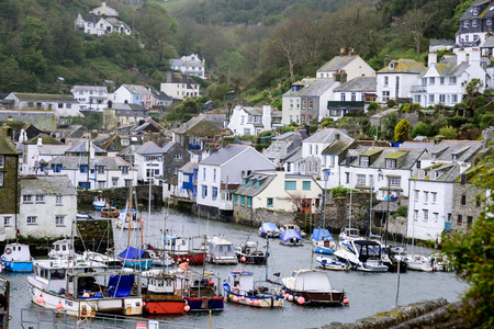 unspoilt: Polperro in Cornwall One of the most popular places in Cornwall South west of England. It is an unspoilt fishing and  one of the prettiest village on the south east cost of Cornwall.