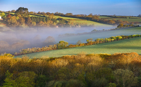 A beautiful Cornish landscape at the sunrise in the South West England in the County of Cornwall.