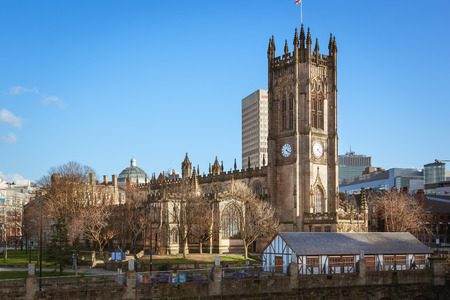 View of a Manchester Cathedral one of the major attraction of Manchester, UK.