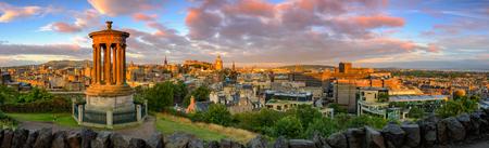 panoramic: Panoramic view of Edinburgh castle from Calton Hill, Edinburgh, Scotland.