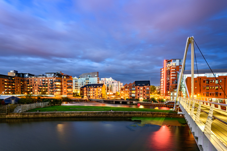 night skyline: Panoramic view of Leeds city from Clarence Dock. Stock Photo