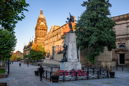 Leeds town hall and war memorial in the city of Leeds, UK Stock Photo
