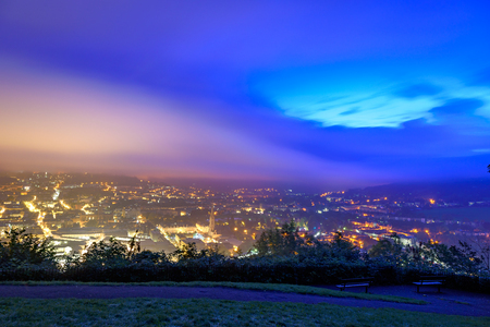 baths: Aerial view of Bath city at Dawn from Alexandra park. Stock Photo