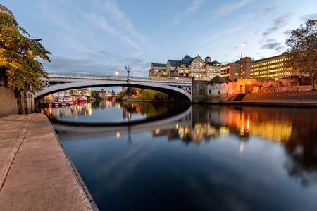 ouse: Relfection of Lendal bridge in still water of River Ouse, York, England. Stock Photo