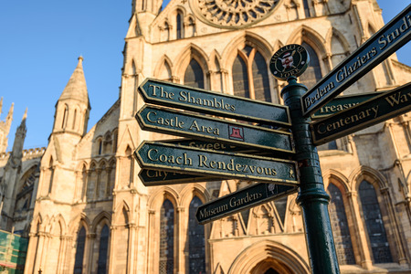 york minster: The directional sign post in front of York Minster in York England. Editorial
