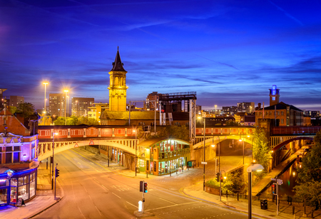 center city: Manchester is up and coming city in England with some beautiful architecture. Stock Photo