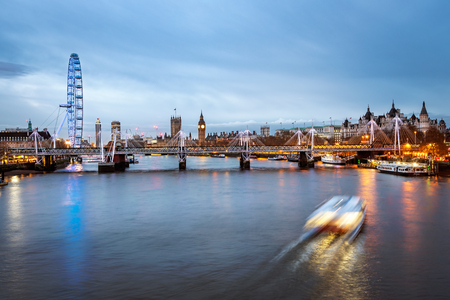 london eye: Panoramic view of London over river thames and London Eye. Stock Photo