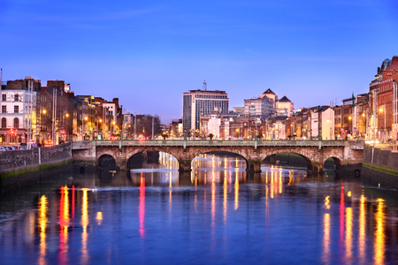 Dublin city on banks of river Liffey, Ireland.