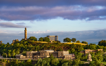 scottish parliament: Roman ruins on top of Calton Hill in the city of Edinburgh, Scotland.