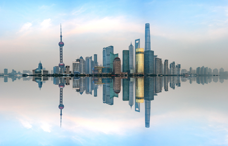 horizon reflection: Financial district of Shanghai in Pudong area, Shanghai city, China.