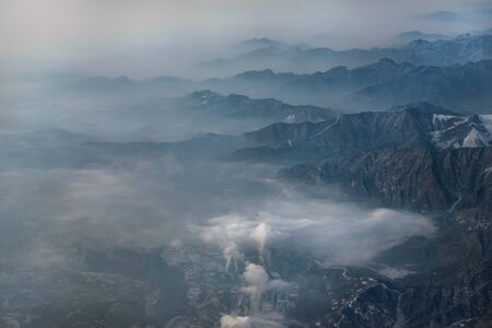 polution: Aerial view of outskirts of beijing, China. Stock Photo