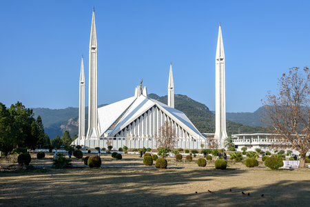 The Faisal Mosque is the largest mosque in Pakistan, located in the national capital city of Islamabad. Stock Photo
