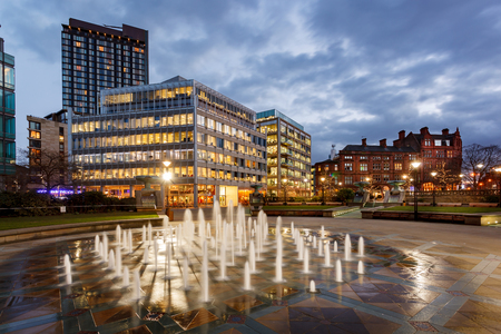 descriptive: Millennium Square is a modern city square in Sheffield, England