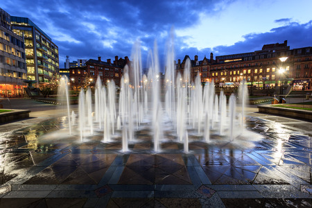 sheffield: Fountain at millenium square in the city centre of Sheffield, UK. Stock Photo