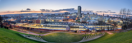 sheffield: Panoramic view of Sheffield city from the amphitheatre.