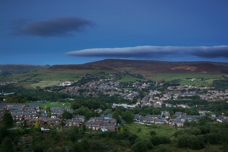 distric: A rural town in the British countryside near Peak district in England. Stock Photo