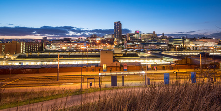 sheffield: Panoramic view of Sheffield city center and the train station.