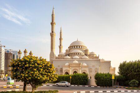 sharjah: Front facade of beautiful mosque in Sharjah, UAE