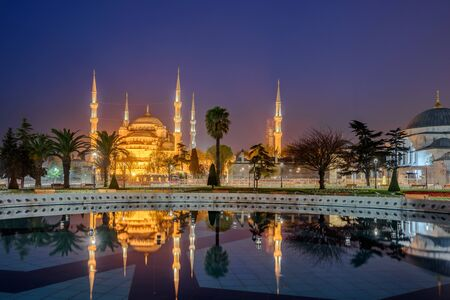 popularly: The Sultan Ahmed Mosque or Sultan Ahmet Mosque is a historic mosque in Istanbul, Turkey. The mosque is popularly known as the Blue Mosque for the blue tiles . Stock Photo