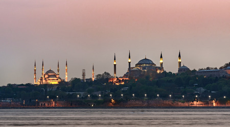 encompasses: The distinctive and characteristic skyline of Istanbul encompasses the Hagia Sophia