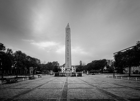erected: The Obelisk of Theodosius  is the Ancient Egyptian obelisk of Pharaoh Tutmoses III re-erected at the Sultanahmet Square in Istanbul Stock Photo