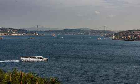 marmara: The Bosphorus is a long north-south strait that joins the Sea of Marmara with the Black Sea in Istanbul, and separates the continents of Europe and Asia. Stock Photo