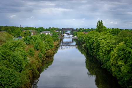 mersey: Warrington is a town in Cheshire, England and  was founded by the Romans at an important crossing place on the River Mersey. Stock Photo