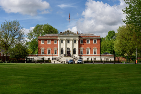 The Warrington town hall designed by architect  James Gibbs is located in Warrington, England.