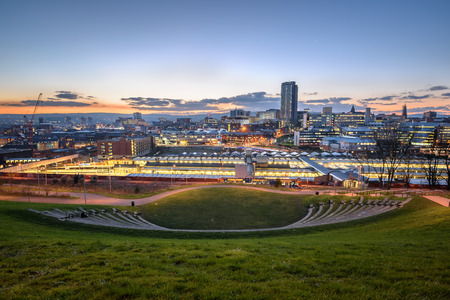 UK,South Yorkshire, Sheffield, City Centre at night from Sheaf Valley Park