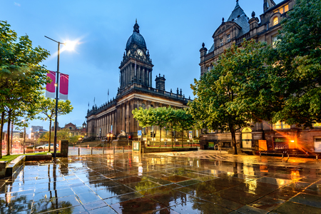halls: Leeds Town Hall was built  on Park Lane (now The Headrow), Leeds, West Yorkshire, England.
