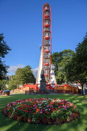 notable: The most notable attraction is the 33 metre  high Ferris wheel, often dubbed The Edinburgh Eye Stock Photo