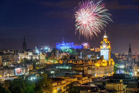 Dramatic firework display over Edinburgh during the Fringe festival. Stock Photo - 61383199