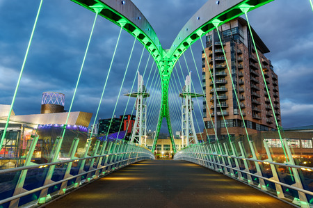 lowry: The Salford Quays Millennium Lift Bridge,  across the Manchester Ship Canal in Salford, England, UK