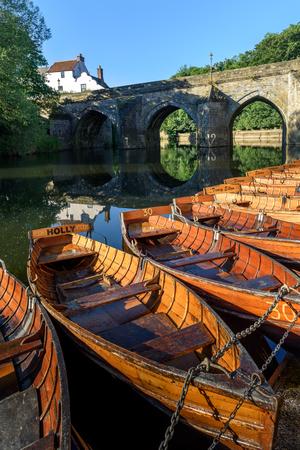 durham: Rowing boats on River Wear and Elvet Bridge, Durham, County Durham, England,