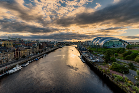 Newcastle upon Tyne is a university city on the River Tyne in northeast England. Stock Photo