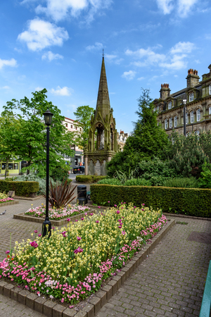 Queen Victoria statue in the town centre of Harrogate, Yorkshire, England. Stock Photo