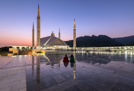Shah Faisal Mosque is one of Asia's largest mosque located in Islamabad capital of Pakistan. Foto de archivo