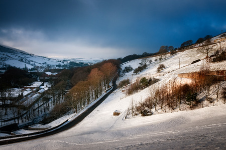 Snow on the hills in the Peak District National park, England. Stock Photo