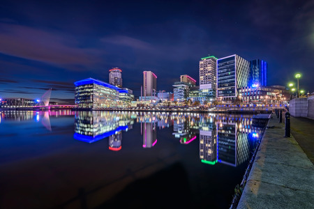 MediaCityUK is on the banks of the Manchester Ship Canal in Salford and Trafford, Greater Manchester, England. Stock Photo - 67050425