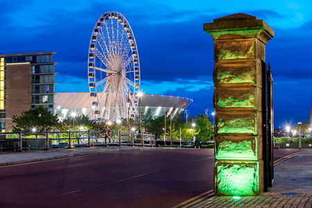 The Wheel of Liverpool is a transportable Ferris wheel installation on the Keel Wharf waterfront of the River Mersey in Liverpool. Editorial