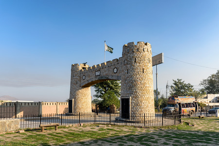 Bab-e-Khyber is the landmark at the end of Khyber pass near Peshawar, Pakistan. Stock Photo