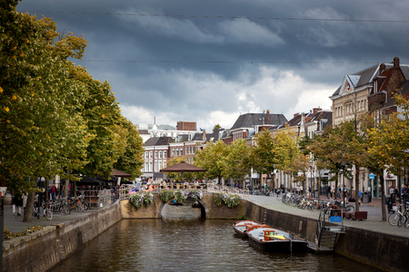 leeuwarden: Canals passing though beautiful city of Leeuwarden capital of Friesland in north of Netherlands. Editorial
