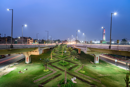 lamp light: Horticultural gardens near  flyovers in Lahore Pakistan