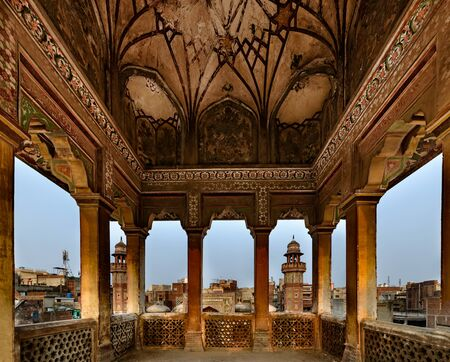 decorative balcony: Mughal architecture combines Persian ,Turkish and Indian styles & can be  identify these structures by their wide domes and  tall towers.