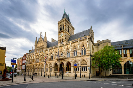 neo gothic: Neo Gothic style architecture of Northampton Guildhall building located in the city centre of Northampton, England.