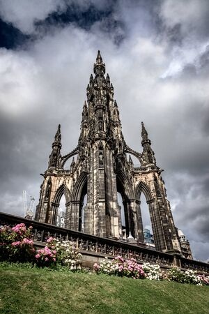 Heavy clouds over  the famous Scott Monument in Edinburgh, Scotland